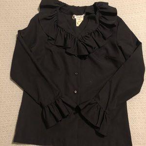 Black Vintage Ruffle Button Down Shirt